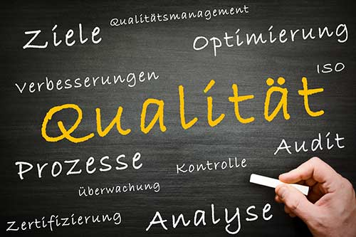 Tafel mit verschiedenen Wörter wie Qualität, Ziel, Prozesse